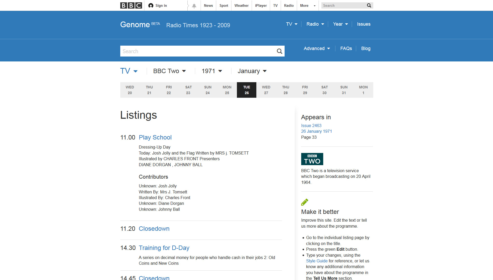 BBC Genome listings